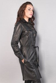 BLACK LEATHER DRESS /COAT