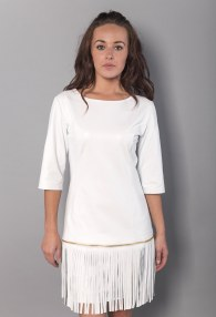 DIVINA WHITE FRINGES DRESS