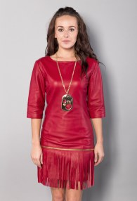 DIVINA RED FRINGES DRESS