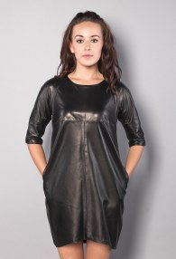 DIVINA BLACK LEATHER DRESS