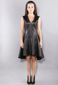 DIVINA BLACK LEATHER BALLERINA DRESS