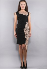 CLASSIC BLACK/BEIGE LACE DRESS
