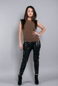 DIVINA BLACK LEATHER PANTS