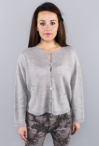 GREY UNDONE BUTTONS SWEATER