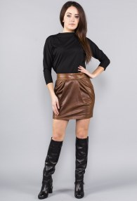 DIVINA BROWN LEATHER SKIRT