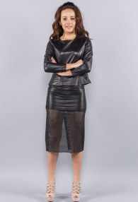 DIVINA BLACK LEATHER SHORT BLOUSE