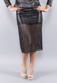 DIVINA BLACK LEATHER PUNCHED SKIRT