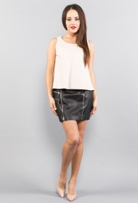 DIVINA ZIPPER LEATHER SKIRT