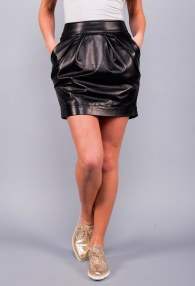 DIVINA LEATHER BLACK SKIRT