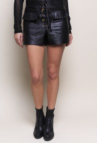 DIVINA BLACK LEATHER SHORTS