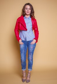 MARY D'ALOIA RED LEATHER JACKET