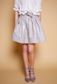 DIVINA GREY LEATHER SKIRT