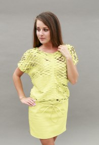 DIVINA LIME LEATHER DRESS