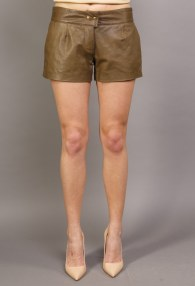 DIVINA KHAKI LEATHER SHORTS