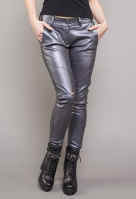 DIVINA GRAPHITE LEATHER PANTS