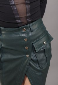 DIVINA GREEN LEATHER SKIRT
