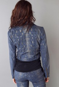 DIVINA BLUE SNAKE LEATHER JACKET