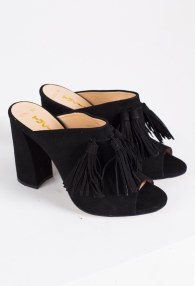 TUCINO BLACK FRINGES SANDALS