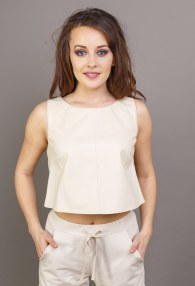 DIVINA CREAM LEATHER BLOUSE