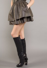 DIVINA KHAKI LEATHER SKIRT