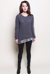 RINASCIMENTO GREY/SEQUINS SWEATER