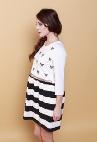 RINASCIMENTO CREAM STRIPS DRESS