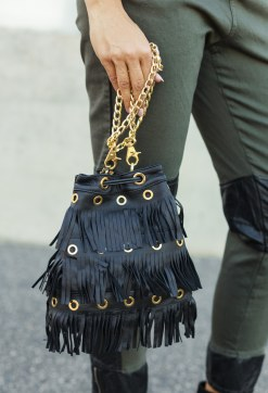 ROBERTA BIAGI BLACK FRINGES BAG