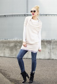 MITIKA PINK LACE LONG SWEATER