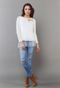 RINASCIMENTO WHITE SWEATER
