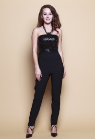 FERVENTE BLACK/SEQUINS SUIT