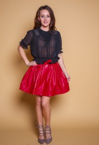 DIVINA RED LEATHER SKIRT